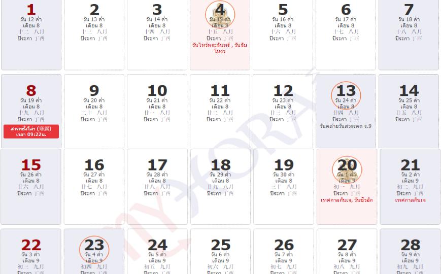 ปฏิทินกิจเจ 2560 วันที่ 20 – 28 ตุลาคม